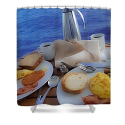 Shower Curtain featuring the photograph Dreaming Of Breakfast At Sea by DigiArt Diaries by Vicky B Fuller