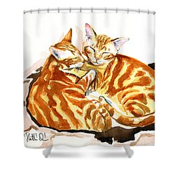 Dreaming Of Ginger - Orange Tabby Cat Painting Shower Curtain