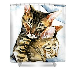 Dreamland - Bengal And Savannah Cat Painting Shower Curtain