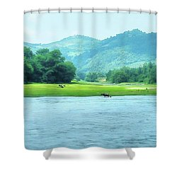 Animals In Li River Shower Curtain