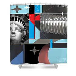 Shower Curtain featuring the mixed media Dreams by Andrew Drozdowicz