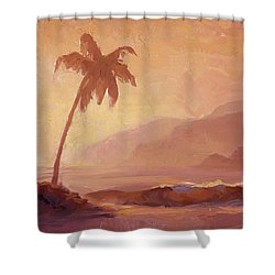 Shower Curtain featuring the painting Dreams Of Hawaii - Tropical Beach Sunset Paradise Landscape Painting by Karen Whitworth