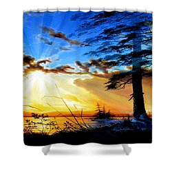 Shower Curtain featuring the painting Dreams Of Sunrise Through The Pines by Hanne Lore Koehler