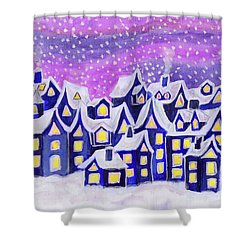 Dreamstown Blue, Painting Shower Curtain by Irina Afonskaya