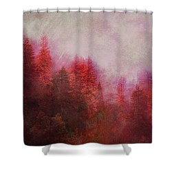 Shower Curtain featuring the digital art Dreamy Autumn Forest by Klara Acel