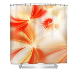 Shower Curtain featuring the digital art Dreamy Orange And Creamy Abstract by Andee Design