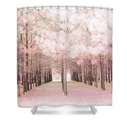 Shower Curtain featuring the photograph Dreamy Shabby Chic Pink Nature Pink Trees Woodlands - Pink Nature Nursery Prints Decor by Kathy Fornal