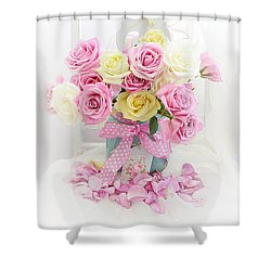 Shower Curtain featuring the photograph Dreamy Shabby Chic Pink Yellow Roses On White Chair - Vintage Pastel Cottage Pink Roses Home Decor by Kathy Fornal