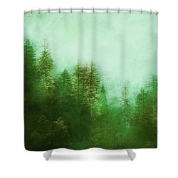 Shower Curtain featuring the digital art Dreamy Spring Forest by Klara Acel
