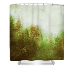 Shower Curtain featuring the digital art Dreamy Summer Forest by Klara Acel