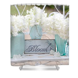 Dreamy White Hydrangeas - Shabby Chic White Hydrangeas In Aqua Blue Teal Mason Ball Jars Shower Curtain