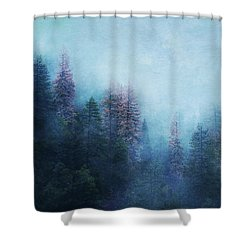 Shower Curtain featuring the digital art Dreamy Winter Forest by Klara Acel