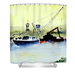 Dredging At Marin Yacht Club Shower Curtain