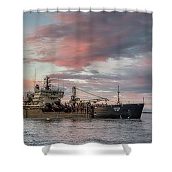 Dredging Ship Shower Curtain by Greg Nyquist