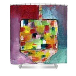 Dreidel Of Many Colors- Art By Linda Woods Shower Curtain