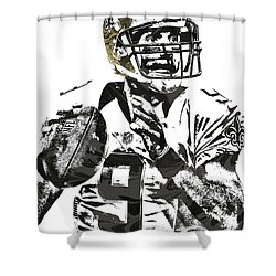Drew Brees New Orleans Saints Pixel Art 1 Shower Curtain by Joe Hamilton