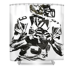 Drew Brees New Orleans Saints Pixel Art 2 Shower Curtain by Joe Hamilton