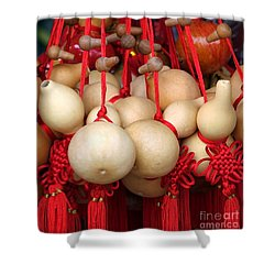 Dried Gourds With Red Tassels Shower Curtain by Yali Shi