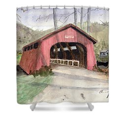Drift Creek Covered Bridge Watercolor Shower Curtain by Chriss Pagani