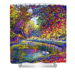 Shower Curtain featuring the painting Drifting Beauties, Swans, Colorful Modern Impressionism by Jane Small