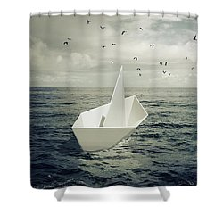Shower Curtain featuring the photograph Drifting Paper Boat by Carlos Caetano