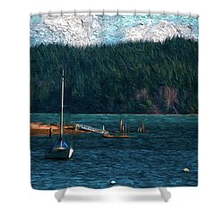 Shower Curtain featuring the digital art Drifting by Timothy Hack