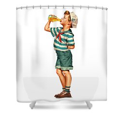 Shower Curtain featuring the digital art Drink Up Sailor by ReInVintaged