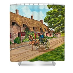 Driving A Jaunting Cart Shower Curtain by Charlotte Blanchard