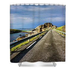 Shower Curtain featuring the photograph Driving Along The Norwegian Sea by Dmytro Korol