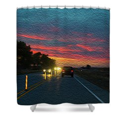 Driving Dusk Shower Curtain