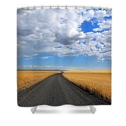 Driving Through The Wheat Fields Shower Curtain by Lynn Hopwood