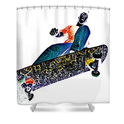 Dropping In Shower Curtain by Meirion Matthias