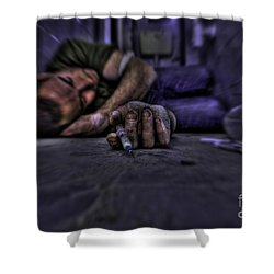 Drug Addict Shooting Up Shower Curtain by Guy Viner
