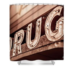 Drug Store Sign - Vintage Downtown Pharmacy Shower Curtain