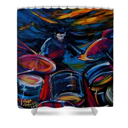 Drummer Craze Shower Curtain by Jeanette Jarmon