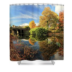Shower Curtain featuring the photograph Drummond Garden Reflections by Grant Glendinning
