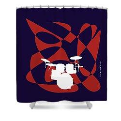 Drums In Purple Strife Shower Curtain by David Bridburg