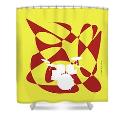Drums In Yellow Strife Shower Curtain