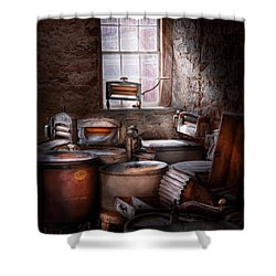 Dry Cleaner - Put You Through The Wringer  Shower Curtain by Mike Savad