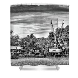 Dry Dock - St. Helena Shrimp Boat Shower Curtain by Scott Hansen