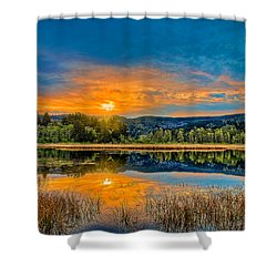 Dry Lagoon Spring Morning Shower Curtain