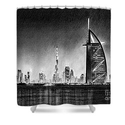 Dubai Cityscape Drawing Shower Curtain