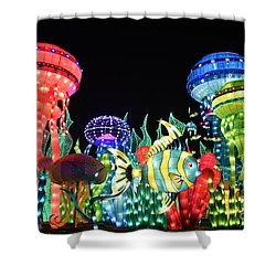 Shower Curtain featuring the photograph Dubai - Garden Glow by Hanza Turgul