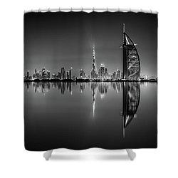 Dubai Skyline Reflection At Amazing Night, Dubai, United Arab Emirates Shower Curtain