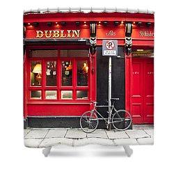 Dublin Red Pub Shower Curtain by Rae Tucker