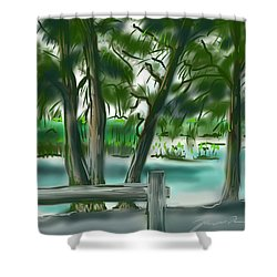 Dubois Park Lagoon Shower Curtain by Jean Pacheco Ravinski