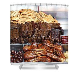 Duck Heads In Soy Sauce And Rice And Blood Cakes Shower Curtain by Yali Shi