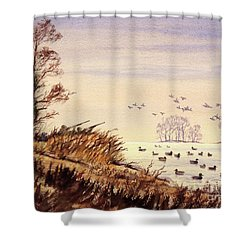 Duck Hunting Times Shower Curtain by Bill Holkham