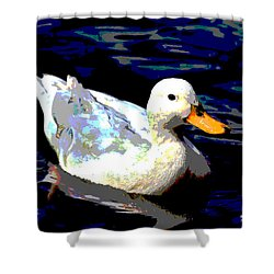 Shower Curtain featuring the mixed media Duck In Water by Charles Shoup