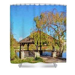 Duck Pond Gazebo At Virginia Tech Shower Curtain